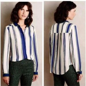 Maeve Anthro Button-Down Striped Blouse Sz 4